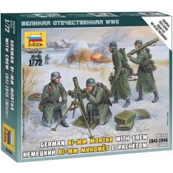 Wargames WWII figurky 6209 Ger. 80mm Mortar with Crew Winter Unif. 1:72